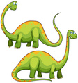 Two green dinosaurs smiling vector image