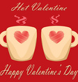 valentine day couple of cups red background Hot vector image
