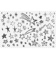 various hand drawn stars set vector image