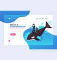 welcome to dolphinarium landing page vector image vector image