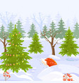 winter forest view background cartoon style vector image vector image
