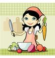 girl prepares a meal vector image