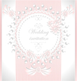 Wedding invitation with pearls flowers in pink co vector image