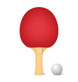 3d realistic red ping pong racket and ball vector image vector image