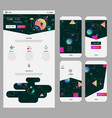 abstract geometric ui screens mockup and one page vector image vector image