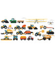 agricultural machinery set vehicle for field farm vector image