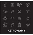 astronomy editable line icons set on black vector image vector image