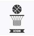 Basketball basket and ball icon Sport symbol vector image vector image