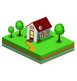 beautiful small isometric house vector image vector image