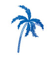 blue shading silhouette of palm tree vector image vector image