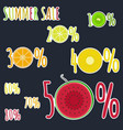bright colorful fruits stickers for summer sale vector image