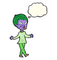 cartoon halloween zombie woman with thought bubble vector image