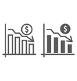 chart line and glyph icon finance and banking vector image