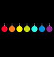 christmas ball icon set line rainbow color happy vector image
