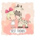 Cute Girl and Giraffe vector image vector image