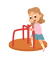 cute girl playing merry go round kid having fun vector image vector image