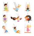 cute little kids swinging on rope swings boys and vector image vector image