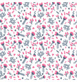 Cute seamless floral pattern in doodle style on