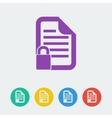 document lock flat circle icon vector image