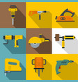 electric tools icons set flat style vector image vector image
