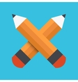 flat pencil icon on blue background vector image vector image