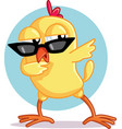 funny chick dabbing cartoon vector image vector image
