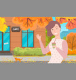 girl near cafe autumn golden leaves fall down vector image