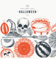 halloween banner template hand drawn design vector image vector image