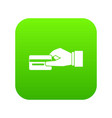 hand holding a credit card icon digital green vector image vector image