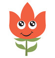 happy red flower on white background vector image vector image