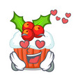 in love decorated christmas cupcakes cartoon for vector image
