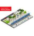 isometric train station building with passenger vector image