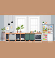 kitchen interior empty nobody apartment with open vector image vector image