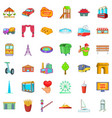 life in town icons set cartoon style vector image vector image