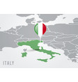 map europe with highlighted italy and pointer vector image