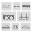 monochrome icons with different bridges vector image vector image