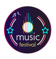 neon music festival vinyl disc record background v vector image vector image