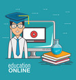 online education and e-learning concept vector image vector image