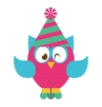 owl bird cute with hat party icon vector image vector image