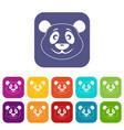 panda icons set flat vector image vector image