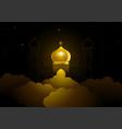 ramadan kareem greeting with golden dome mosque vector image vector image