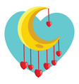 red hearts hanging from yellow new moon in a vector image