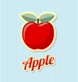 retro apple on striped background vector image vector image