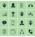 set of 16 hr icons includes phone conference vector image vector image
