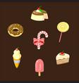 set of 7 desserts vector image