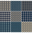 Set of 9 seamless geometric patterns vector image vector image