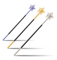 set of magic wands with stars vector image vector image