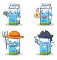 set of milk box character with doctor money bag vector image vector image
