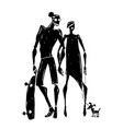 Skateboard silhouettes of woman and man