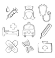 Sketched medical and healthcare icons vector image vector image